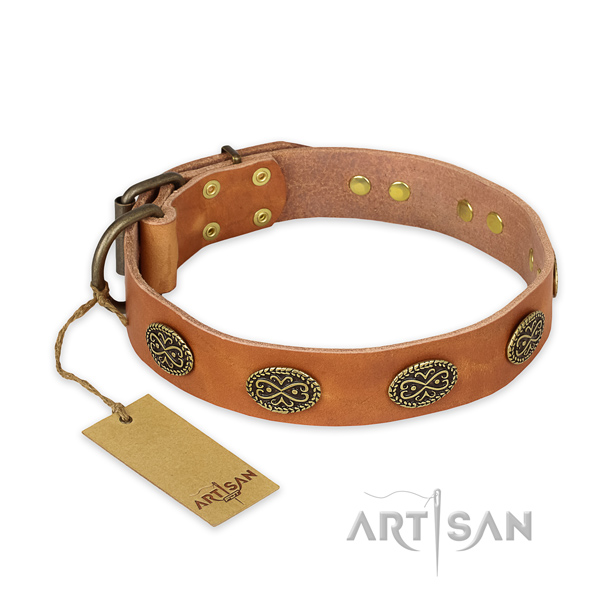 Adjustable full grain natural leather dog collar with reliable traditional buckle
