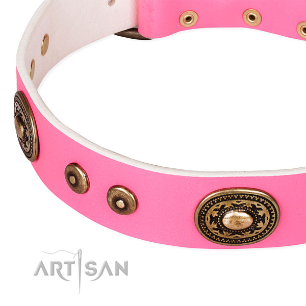 Full grain genuine leather dog collar made of top rate material with embellishments