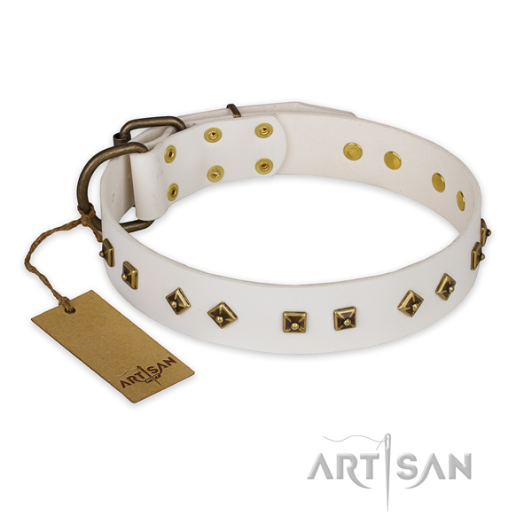 Decorated full grain genuine leather dog collar with rust-proof fittings