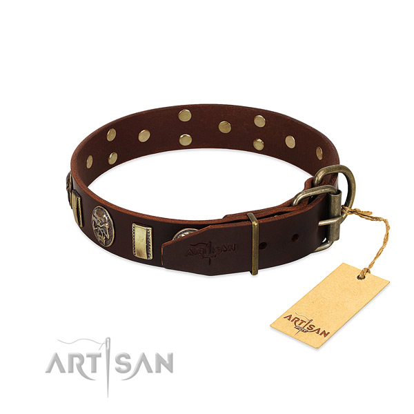 Leather dog collar with rust-proof hardware and decorations