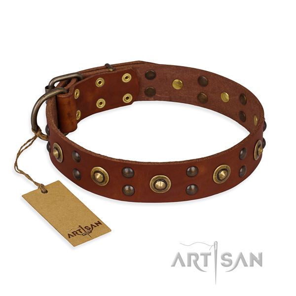 Stylish design full grain genuine leather dog collar with corrosion proof hardware