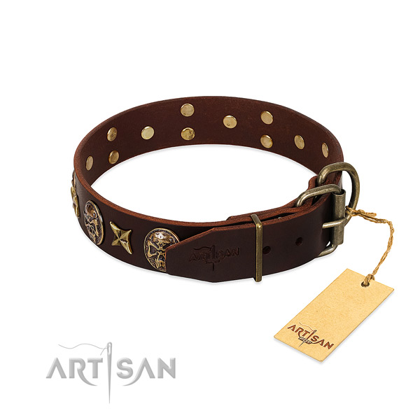 Full grain natural leather dog collar with rust resistant buckle and decorations