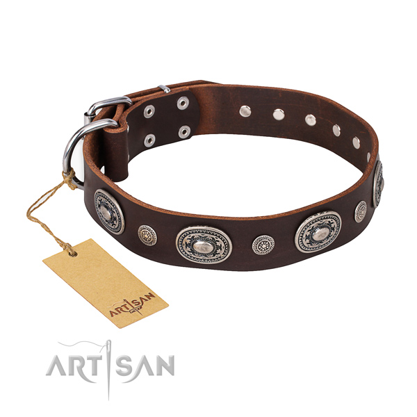 Gentle to touch full grain leather collar made for your canine