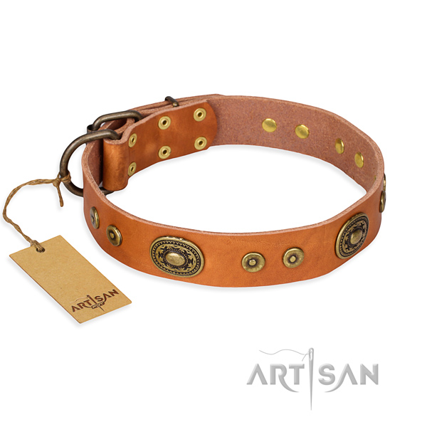Leather dog collar made of soft material with rust-proof fittings