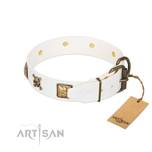 Inimitable full grain natural leather dog collar with corrosion proof adornments