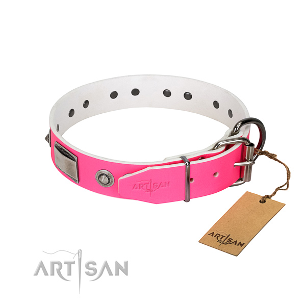 Convenient dog collar of full grain genuine leather with decorations