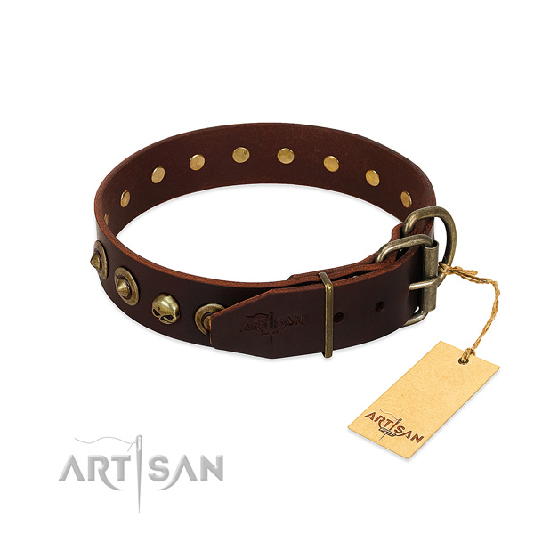 Full grain leather collar with incredible adornments for your doggie