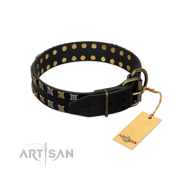 Top notch full grain genuine leather dog collar crafted for your pet