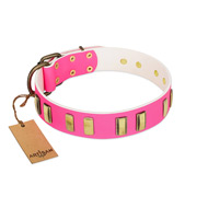 """Rubicund Frill"" FDT Artisan Pink Leather Sharpei Collar with Engraved and Smooth Plates"