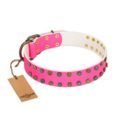 """Blushing Star"" FDT Artisan Pink Leather Sharpei Collar with Two Rows of Small Studs"