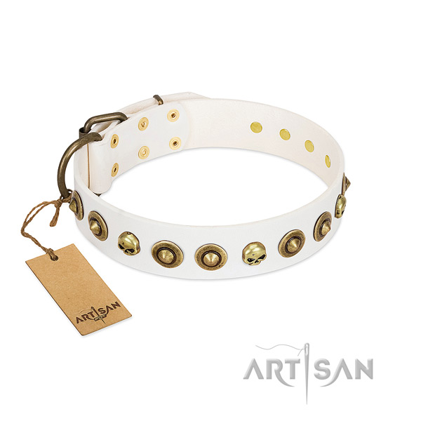 Genuine leather collar with fashionable decorations for your canine
