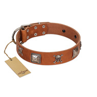 """Amorous Escapade"" Embellished FDT Artisan Tan Leather Sharpei Collar with Chrome Plated Crossbones and Plates"
