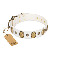 """Nifty Doodad"" FDT Artisan White Leather Sharpei Collar with Amazing Large Ovals and Small Studs"