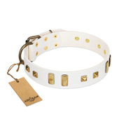 """Wintertide Mood"" FDT Artisan White Leather Sharpei Collar with Old Bronze-like Plates and Studs"