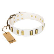 """Glorious Light"" FDT Artisan White Leather Sharpei Collar with Old Bronze-like Plates"