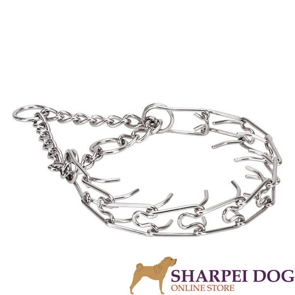 Corrosion proof stainless steel pinch collar for badly behaved canines