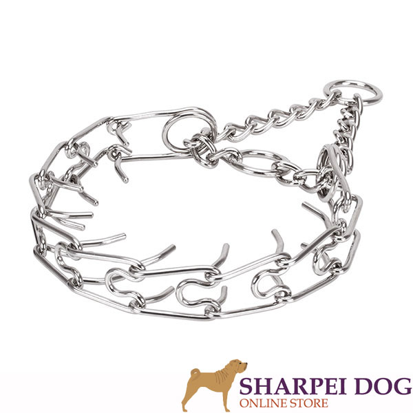 Dog prong collar of durable stainless steel for large pets