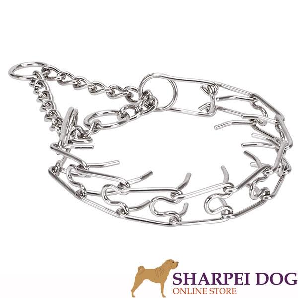 Rust resistant dog prong collar with stainless steel removable links