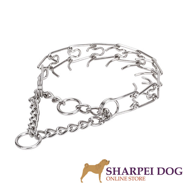 Adjustable stainless steel dog prong collar with removable prongs for medium and large dogs