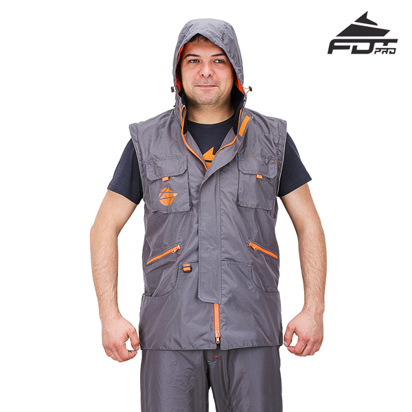 Dog Tracking Jacket Grey Color FDT Pro Design with Durable Hood