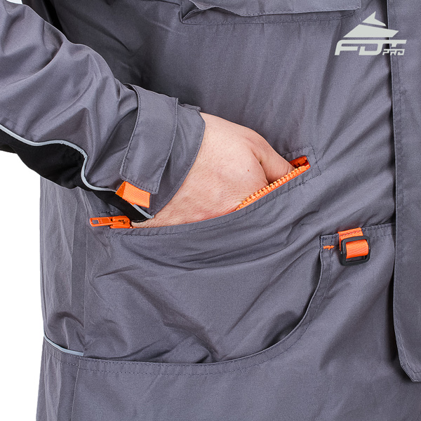 Grey FDT Pro Design Dog Training Jacket with Durable Side Pockets