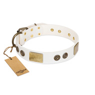 """Sweet Melody"" FDT Artisan White Leather Sharpei Collar with Plates and Ornamented Studs"