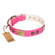 """Queen's Whim"" FDT Artisan Fancy Walking Pink Leather Sharpei Collar Adorned with Old Bronze-like Plates and Studs"