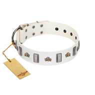 """Mysterious Voyage"" FDT Artisan White Leather Sharpei Collar with Engraved Plates and Skulls"