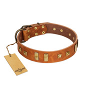 """Sand of Time"" FDT Artisan Tan Leather Sharpei Collar with Old Bronze-like Studs and Plates"