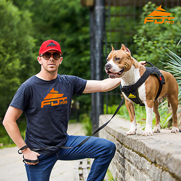 Men T-shirt of Durable Cotton with Orange Logo for Dog Training