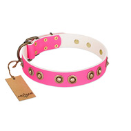 """Bright Delight"" Pink FDT Artisan Leather Sharpei Collar with Large Old Bronze-like Plated Studs"
