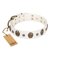"""Magic Bullet"" FDT Artisan White Leather Sharpei Collar with Studs and Skulls"