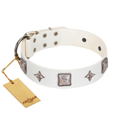 """Vanilla Ice"" FDT Artisan Handmade White Leather Sharpei Collar with Silver-like Adornments"